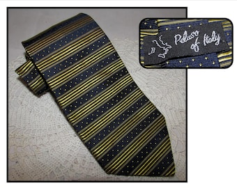 Vintage Navy Blue & Yellow Silk Necktie Tie by Peluso of Italy, Made in Canada, Mens tie, horizontal stripes