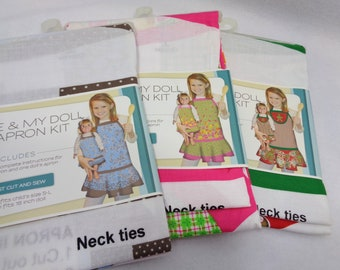 Girl and Her Doll Apron Kits, Destash Fabric, Apron Kits for a Girl and Her Doll, American Girl Doll Aprons, Christmas Apron, Summer Apron