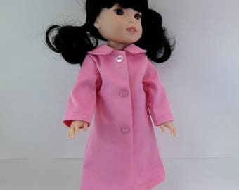 """Doll Coat for 14.5"""" Doll Pink Coat  with Collar Fits Wellie Wishers Hearts 4 Hearts and Similar Dolls"""