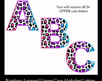 LEOPARD ALPHABET CLIPART Rainbow Printable Letters Diy Clip Art Animal Print Digital Graphics - Scrapbook Scrapbooking Teacher Classroom