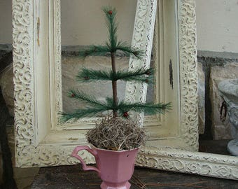 Feather tree Mini christmas tree in a pink tea cup vintage style tabletop tree farmhouse Christmas table decor centerpiece Cottage Chic
