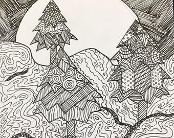 Moonlight Forest-- Original Illustration