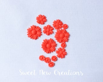 small sugar flowers 36pcs  red Hawaiian edible petite fours fondant flowers fiesta Luau cupcake toppers flower cake pop decorations wedding