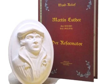 Martin Luther - wall relief art stone - in decorative gift book, 500 years of reformation, present, gift, book, Lukas Cranach,.