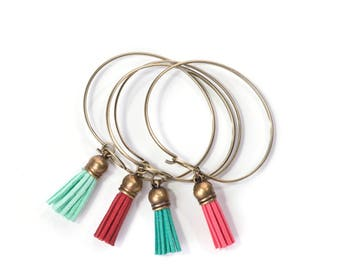 Leather Tassel Charm Bracelet in Bright Colors