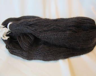 2 Ply Handspun Alpaca Yarn - All Natural Dark Brown and Black - Sport Weight, 217 Yds - 14-18 WPI