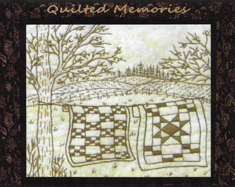 Quilted Memories - Clothesline Quilts - Redwork Hand Embroidery Pattern by Beth Ritter - Instant Digital Download