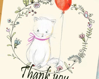 Printable thank you card instant download greeting card shower thank you cute thank you card thank you card printable thank you greeting cards cat lovers cute baby shower cat thank you m4hsunfo