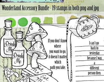 Wonderland accessory bundle - 19 digi stamp set