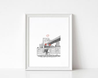 Canoodle Doodles No. 29   Brooklyn Bridge   Christmas Version ART PRINT //  Gift For Him Or Her Christmas Anniversary Engagement Wedding