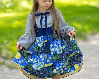 Doctor Who - Girls Dresses - Cosplay Costume - Dr Who - Vincent Van Gogh - Starry Night - Toddler Costume - Pinafore Dress - 2T to 10 yrs