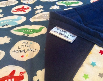 Handmade baby quilts, baby quilts for sale, airplane baby quilt, airplane toddler quilt, baby boy quilt, airplane blanket, baby shower gift