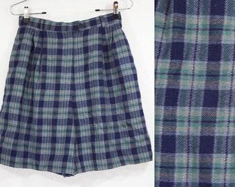 """7 DOLLAR SALE---Vintage 80's PORTRAITS Wool Blue Plaid Shorts Size 6 S Waist 26"""""""