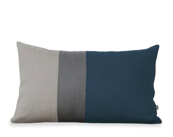 Lake Colorblock Pillow Cover with Stone Grey Stripe and Natural Linen by Jillian Rene Decor - Dark Teal - Decorative Pillow Fall 2015 FW2015