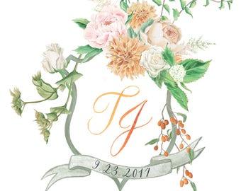 Watercolour Crest, Custom Heraldry, Hand Painted Wedding Monogram, Digital
