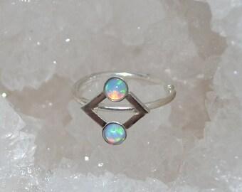 Silver Tragus Earring 2mm Blue Opal - Nose Ring Stud - Cartilage Hoop Earring - Helix Piercing - 20g Rook Hoop - Septum Ring 20 gauge