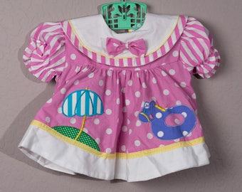 Vintage Small Stars Baby Dress, 1970s Polka Dot 6-9 Month Dress