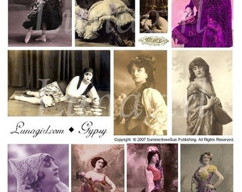 GYPSY digital collage sheet DOWNLOAD, vintage photos, women dancers, fortune teller, tinted postcard images, altered art printable ephemera