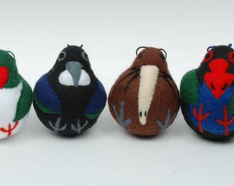 Felted New Zealand Birds, set of 4