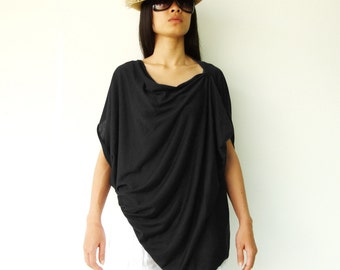 NO.60 Black Cotton-Blend Jersey Origami Top, Asymmetrical T-Shirt