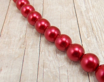 "8mm Czech Glass Pearls - Cherry Red - 7.5"" Strand - 24 Pearls - Christmas Red - Cardinal - Crimson"