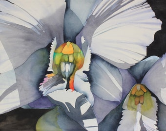 NEW! Hawaii.....Art Original Watercolor Painting of a White FANTASY ORCHID