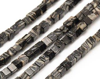 10 x 4mm PICASSO Jasper cube beads