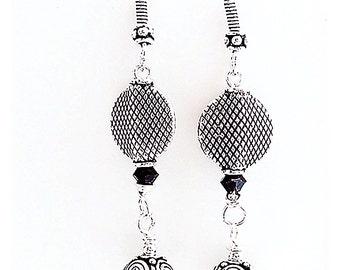 Long Silver Earrings, Black and Silver Earrings, Bali Earrings, Black and Silver Earrings E0808-03