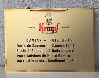 Vintage French Metal CAVIAR FOIE GRAS Wall Sign Plaque Tag 2305174