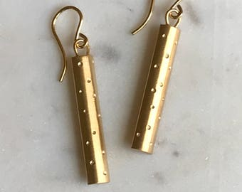 Holiday Collection: 14k gold plated polka dot earrings