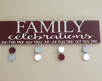 Family celebrations board
