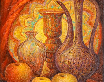 Oil on Canvas Original Signed Painting by Marina Grigoryan Fruits and Pitchers  Unique Art