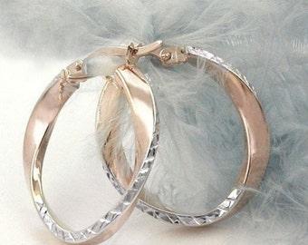 Diamonded bicolor hoops, 9K rose gold