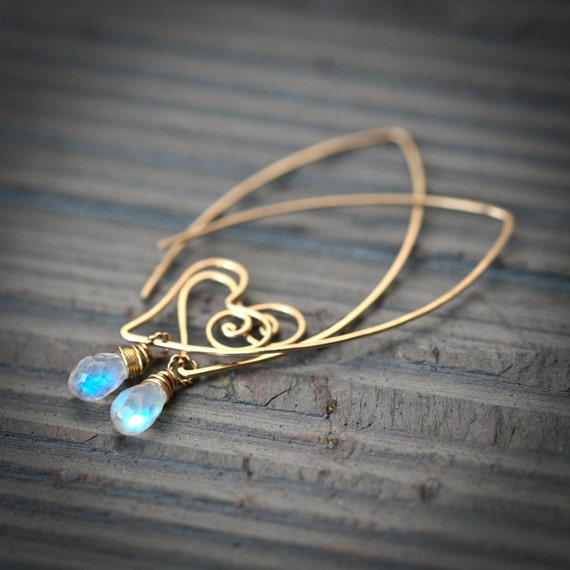 Heart Within - 14k Gold Filled Wire Sculpted Hoops with Rainbow Moonstone