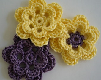 Trio of Crocheted Flowers - Yellow and Purple - Cotton Flowers - Crocheted Flower Embellishment - Crocheted Flower Applique - Set of 3