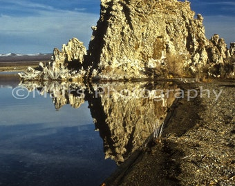 Blue Tan Landscape Lake Tufa Nature Rock Formations Travel California, Mono Lake, Fine Art Photography matted & signed Original Photograph