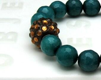Teal Blue Jade Boho Beaded Bracelet Amber Rhinestone Focal Stretch Bracelet, for Her Under 75, One of a Kind