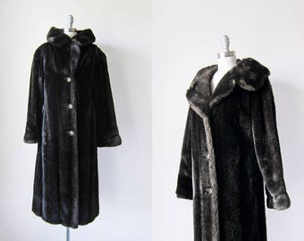1960s vintage faux fake fur long dark brown button down coat jacket m