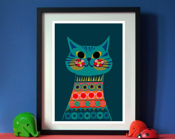Bella Cat by Jay Kaye  A3 print  Bright  Colourful print wall Art Fun