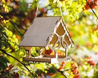 bird feeder / wooden bird feeder / garden decoration / hanging bird feeder / large bird feeder / wooden hand crafted / birdfeeder
