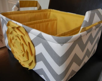 "LG Diaper Caddy(choose colors)12""x10""x6"" Two Dividers-Baby Gift-Chevron-Fabric Storage Organizer-""Yellow Rose on Grey Zigzag"""