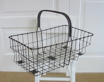 Vintage Metal Basket, Vintage Wire Basket, Vintage Market Basket, Industrial Basket, Metal Handled Basket, Metal Easter Basket, Industrial