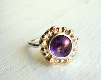 Amethyst and 14k Gold Pebble Ring - Handmade ring in sterling silver and 14k gold, wabi sabi handmade ring