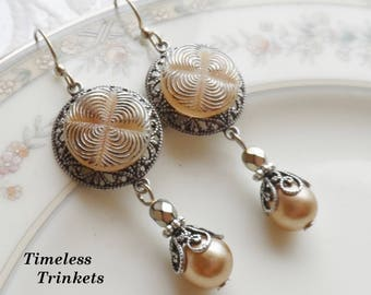 Vintage Glass Button Earrings with Vintage Faux Pearl, Highlighted with Silver, Caramel-Beige, Geometric Design