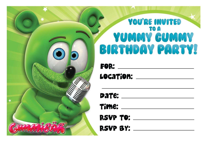 Gummibr printable birthday invitations the gummy bear zoom monicamarmolfo Choice Image