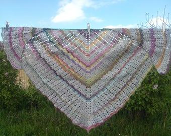 Decorative stitches in grey and multicolor crochet shawl