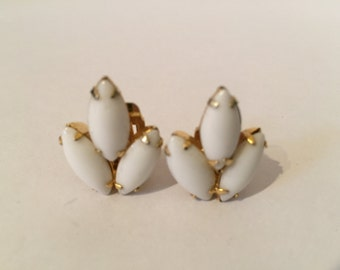 Continental White Glass Earrings - Milk Glass Earrings - Bridal Jewelry - Gold Tone Earrings