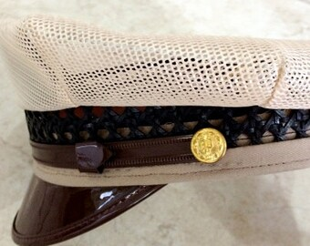 FREE  SHIPPING                1950's-1960's Military/Sailor Beige & Brown Hat