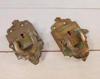 Antique Brass Locking Mechanism, Keyed Lock, Restoration Lock Hardware, Victorian Hardware