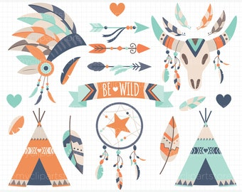 Clipart - Boho Elements (3) / American Indian / Tribal Wedding Digital Clipart - Digital Clip Art (Instant Download)